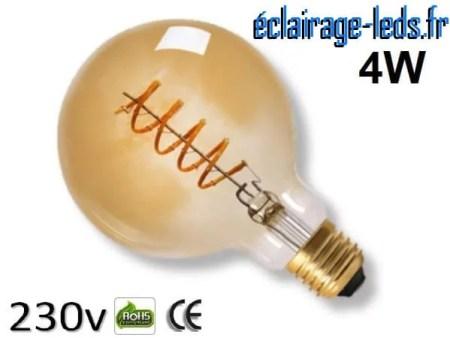 Ampoule led E27 vintage 4w COB Filament blanc chaud 2300K 230v AC ref e278-1