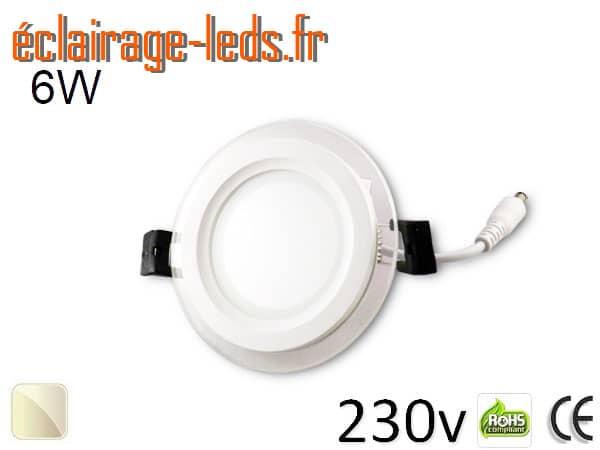 Spot LED Slim 6w blanc perçage 75mm 230v