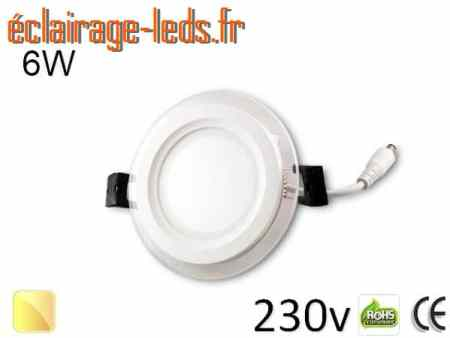 Spot LED Slim 6w blanc chaud perçage 75mm 230v