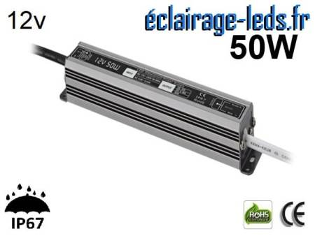 transformateur led 12v dc 50 watts ip67