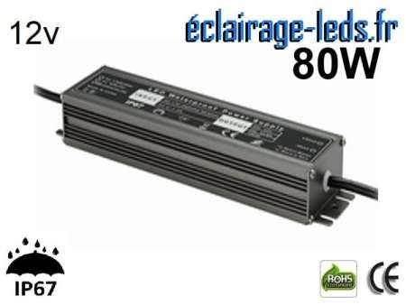 transformateur led 12v dc 80 watts ip67