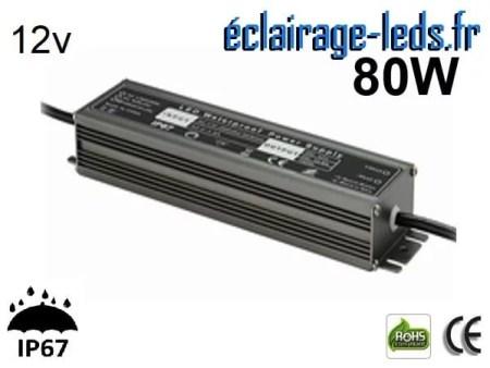 transformateur led 12v dc 80 watts ip67