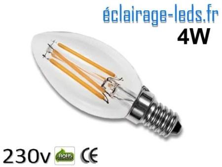 Ampoule led E14 flamme 4w Blanc Chaud 230V