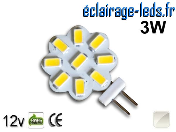 Ampoule led G4 Flower 9 led SMD 5630 blanc naturel 12v