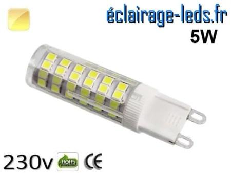 Ampoule LED G9 5w smd 2835 blanc chaud 230v