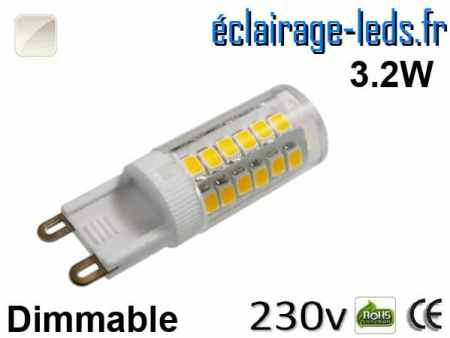Ampoule LED G9 dimmable 3.2w smd 2835 blanc naturel 230v