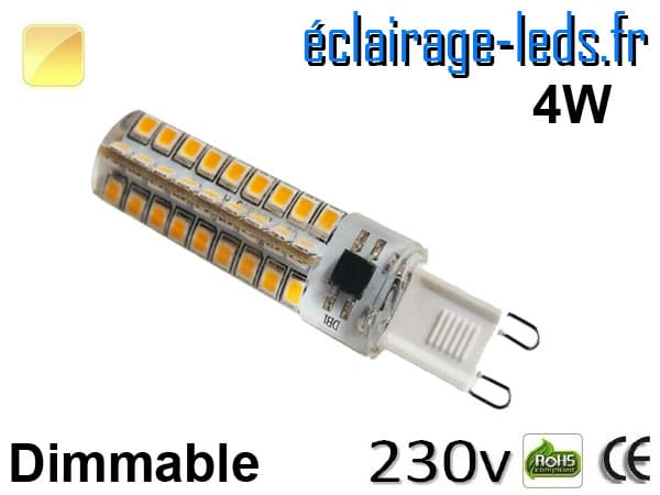 Ampoule LED G9 dimmable 4w smd 2835 blanc chaud 230v