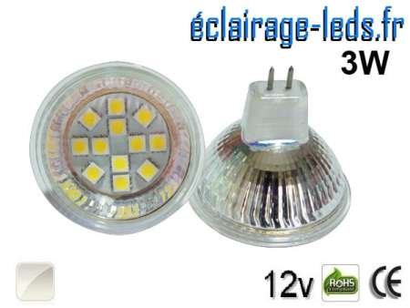 Ampoule LED MR16 12 led smd 5050 blanc naturel 12v 60°