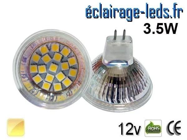Ampoule LED MR16 18 led smd 5050 blanc chaud 12v 60°