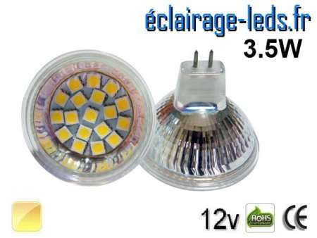 Ampoule LED MR16 18 led smd 5050 blanc chaud 12v 60°
