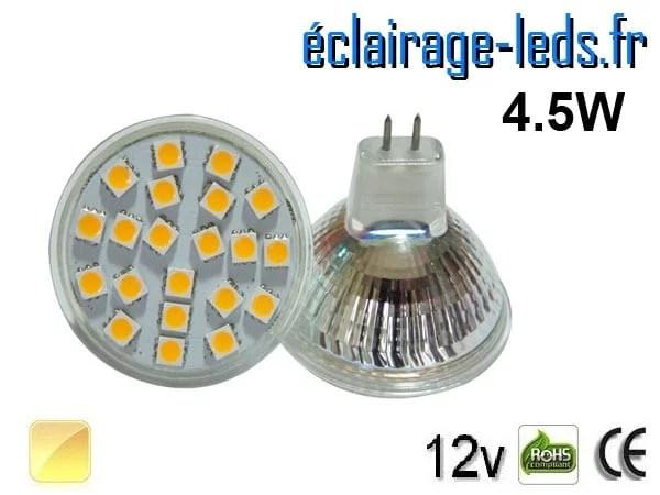 Ampoule LED MR16 21 led smd 5050 blanc chaud 12v