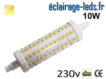Ampoule LED R7S 10w smd 2835 118mm blanc chaud 230v