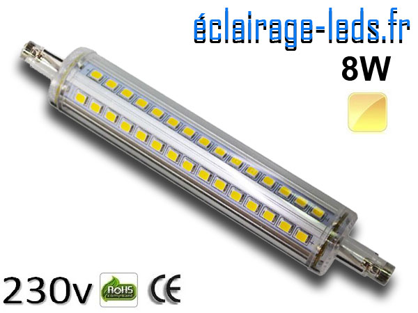 Ampoule LED R7S slim 8w smd 2835 118mm blanc chaud 230v