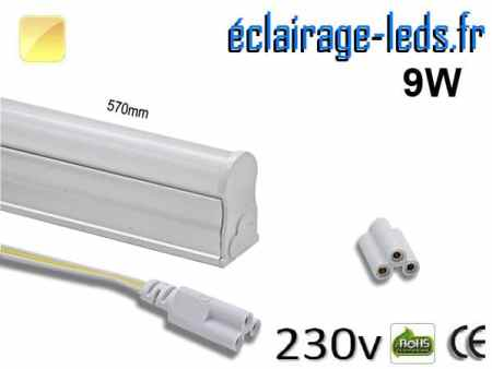 Tube LED T5 9w blanc chaud 900 Lm 230v AC