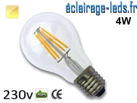 Ampoule LED E27 filament 4w blanc chaud 230v