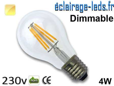 Ampoule Led E27 filament 4w dimmable blanc chaud 230v