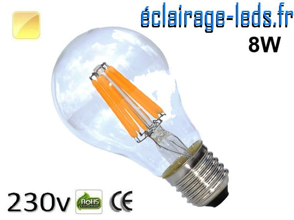Ampoule LED E27 filament 8w blanc chaud 230v