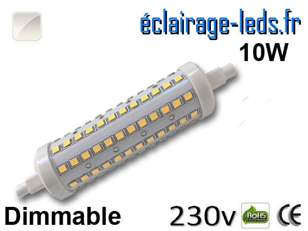 Ampoule LED R7S dimmable 10w 118mm blanc naturel 230v