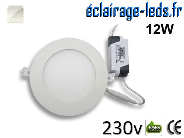 Spot LED 12W ultra plat SMD2835 blanc naturel perçage 155mm 230v