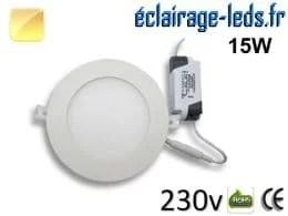 Spot LED 15W ultra plat SMD2835 blanc chaud 230v