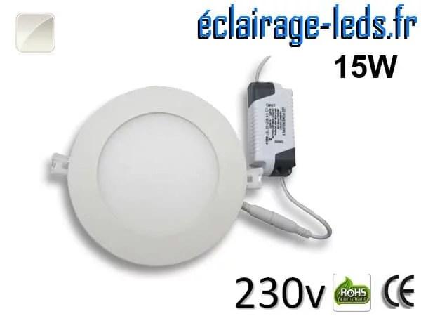 Spot LED 15W ultra plat SMD2835 blanc naturel perçage 175mm 230v