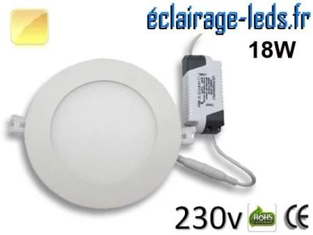 Spot LED 18W ultra plat SMD2835 blanc chaud perçage 205mm 230v