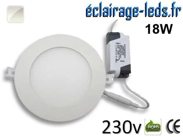 Spot LED 18W ultra plat SMD2835 blanc naturel perçage 205mm 230v