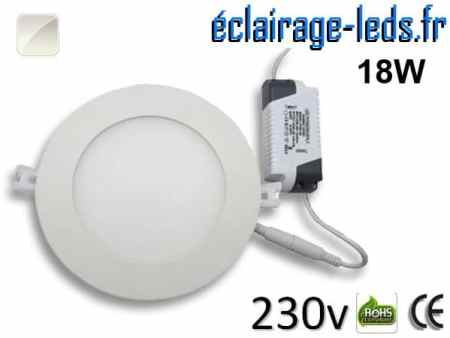 Spot LED 18W ultra plat SMD2835 blanc naturel perçage 205mm 230v