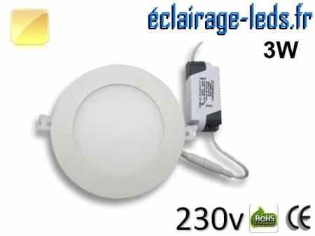 Spot LED 3W ultra plat SMD2835 blanc chaud perçage 70mm 230v