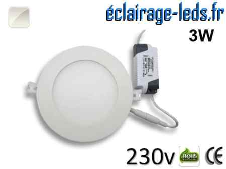 Spot LED 3W ultra plat SMD2835 blanc naturel perçage 70mm 230v