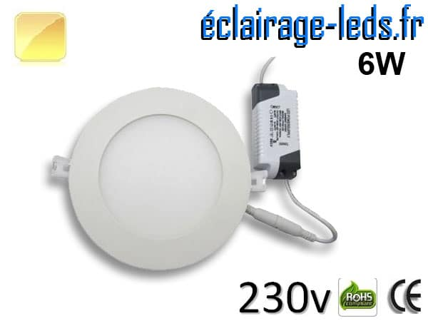 Spot LED 6W ultra plat SMD2835 blanc chaud perçage 105mm 230v