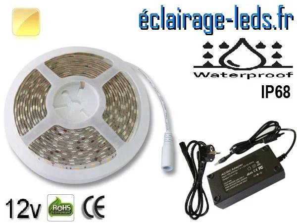 Kit bandeau LED 5m Blanc chaud IP68 smd5050 12v