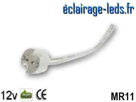 Douille LED MR11 fil denudé 12v