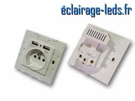 Prise électrique 230v double usb