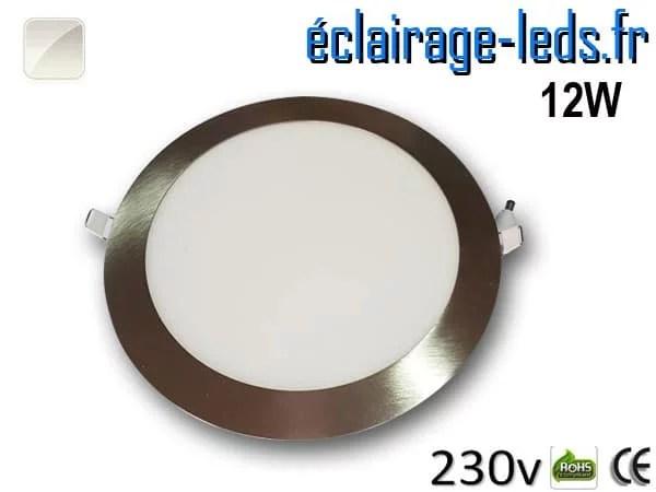 spot led chrome 12W ultra plat SMD2835 blanc naturel perçage 155mm 230v