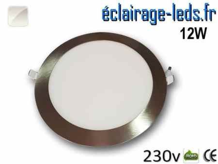 spot led chrome 12W ultra plat SMD2835 blanc naturel perçage 155mm 230v