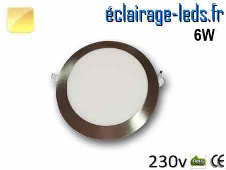 spot led chrome 6W ultra plat SMD2835 blanc chaud perçage 105mm 230v