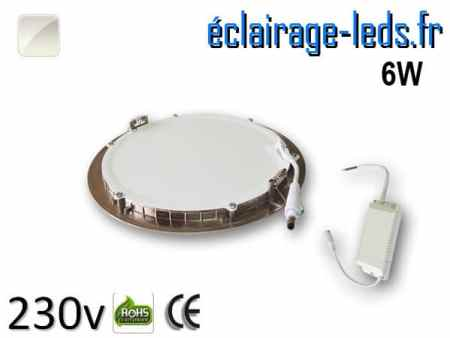 spot led chrome 6W ultra plat SMD2835 blanc naturel perçage 105mm