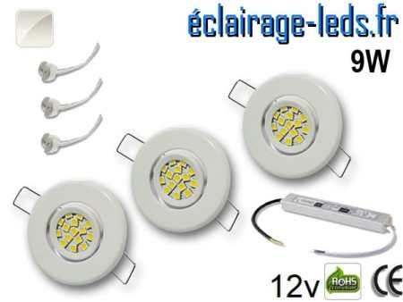 Kit Spot MR11 orientable blanc 12 LED blanc naturel perçage 53mm 12V