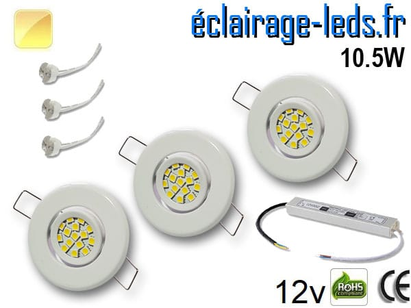 Kit Spot MR11 orientable blanc 15 LED blanc chaud perçage 53mm 12V