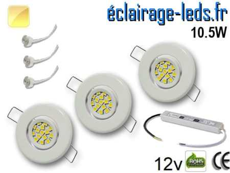 Kit Spot MR11 orientable blanc 15 LED blanc chaud perçage 53mm 12V