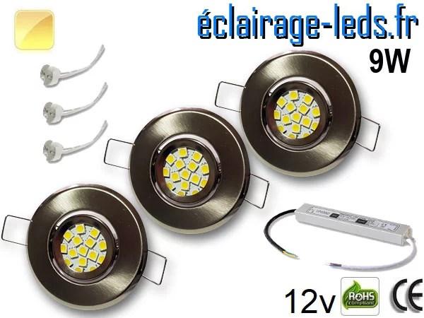 Kit Spot MR11 orientable chrome 12 LED blanc chaud perçage 53mm 12V