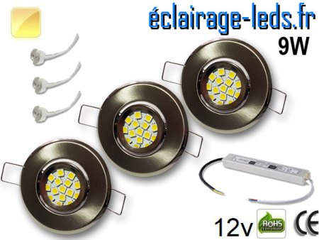 Kit Spot MR11 orientable chrome 12 LED blanc chaud perçage 53mm 12V