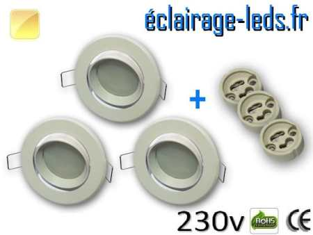 kit Spots LED Gu10 Blanc chaud encastrable blanc orientable perçage 70mm
