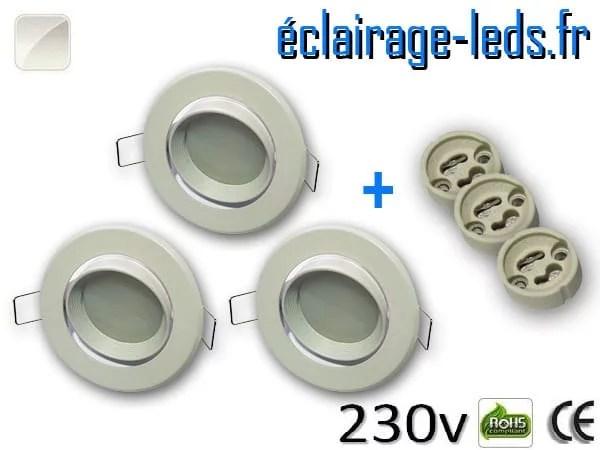 kit Spots LED Gu10 Blanc naturel encastrable blanc orientable perçage 70mm