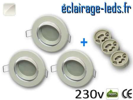 kit Spots LED Gu10 Blanc naturel encastrable blanc orientable perçage 70mm