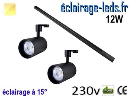 2 Spots LED noir sur rail 12w 15° blanc chaud 230v