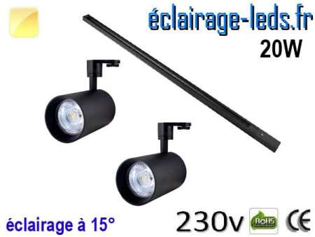 2 Spots LED noir sur rail 20w 15° blanc chaud 230v