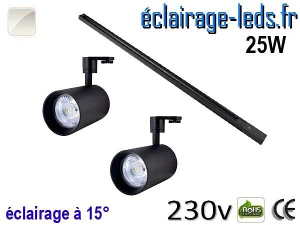 2 Spots LED noir sur rail 25w 15° blanc naturel 230v