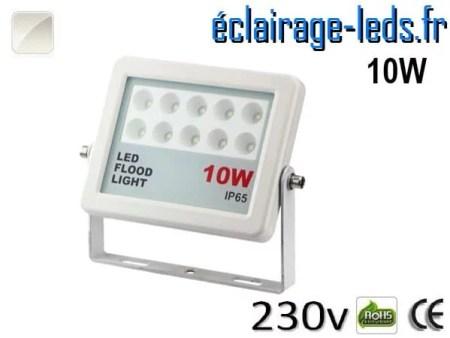 Projecteur LED extérieur plat 10W IP65 blanc naturel 230v